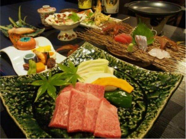 食事の一例(宮崎牛のステーキプラン)
