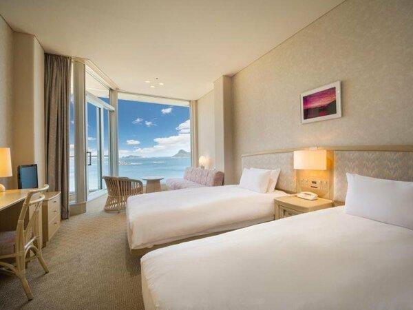 ツインルーム 約26平米 全室バルコニー付きの海側となっております。