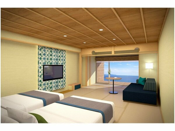 【高層階】畳+快適ベッドから海を望むツイン ジャグジーバス付