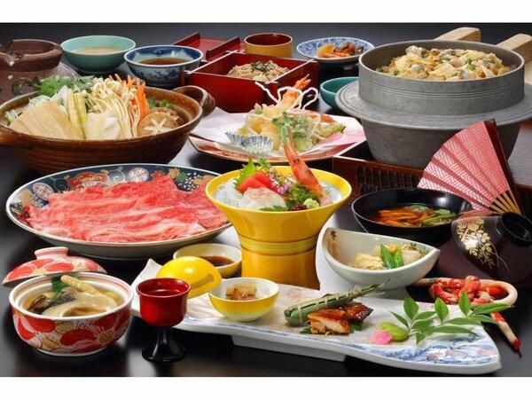 料理の一例(イメージ)※釜飯は6人前、鍋は2人前