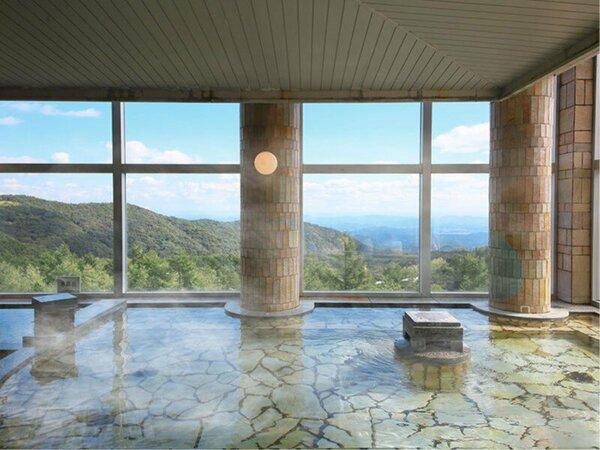 大きくて開放的な窓からは、ガラス越しに霧降高原の大自然の眺望を楽しむことができます。