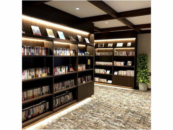 壁一面に本のあるライブラリー