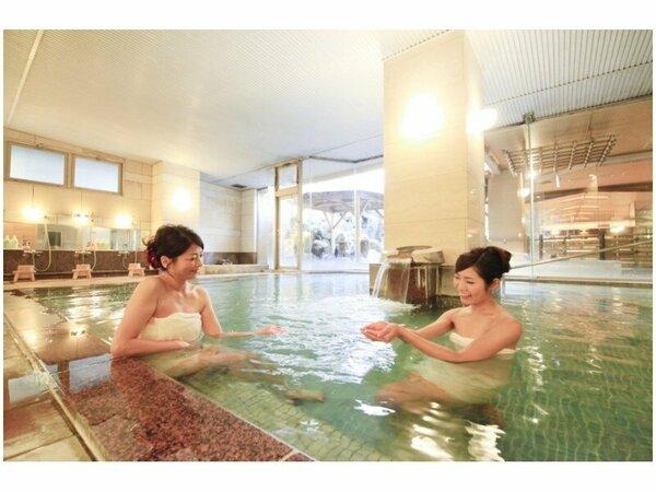 1階大浴場楽水の湯。磯部温泉の泉質を心ゆくまで・・・