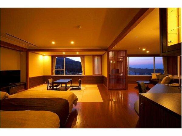 和洋室「山あかり」ツインベッド+10畳(74平米)