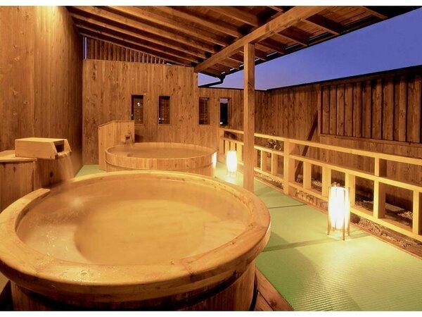 夕暮れの露天風呂(大浴場・滝の湯に併設してございます)