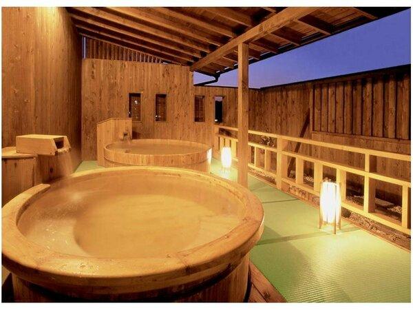 夕暮れの露天風呂