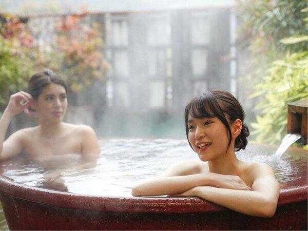 【貸切露天風呂】「陶器の湯」すべすべ陶器の浴槽。*温泉ではございません。
