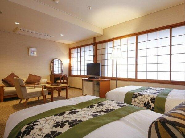 【洋室(ツインベッド・禁煙)】シモンズ製ベッドは旅の疲れを癒すゆったりとした寝心地の良さ。