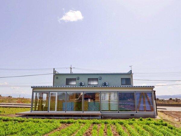一面農場に囲まれたゲストハウス