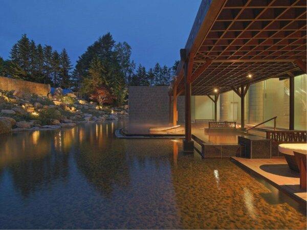 庭園露天風呂「森の清流・滝壺の湯」 ダイナミックな滝の流れを眺めながら入る立湯をお楽しみください