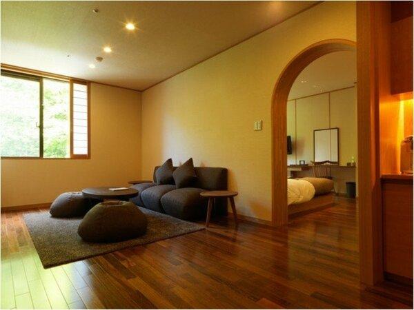 デラックスツイン(客室一例)/ツインベッド+リビングの、52平米のデラックスツイン