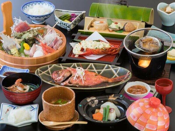 料理の一例(イメージ)海鮮会席料理をお部屋でご用意。※お造り・金目鯛の姿煮は2名様分