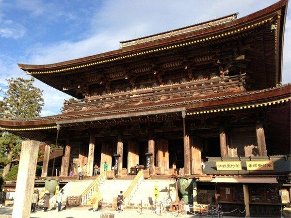 吉野山の中心、世界遺産「金峯山寺蔵王堂」までは徒歩7分で当館が一番近い宿になります。