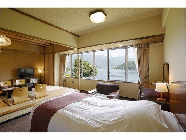 2ベッドと和室8畳 ゆったりした和洋室で湖畔の景色を満喫できます。