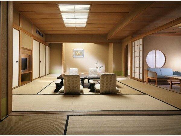 【臨川閣 和室一例】12.5畳+次の間+バルコニー・室内には高野槙の温泉風呂付の贅沢なお部屋
