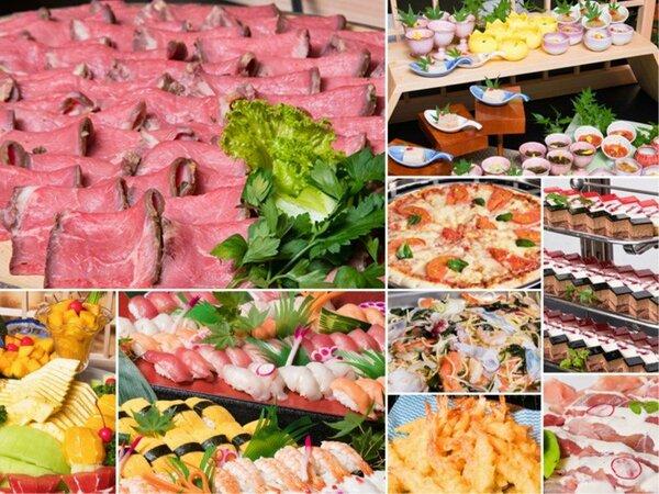 ローストビーフ・握り寿司・天婦羅・デザート等、約25種の食べ放題&飲み放題