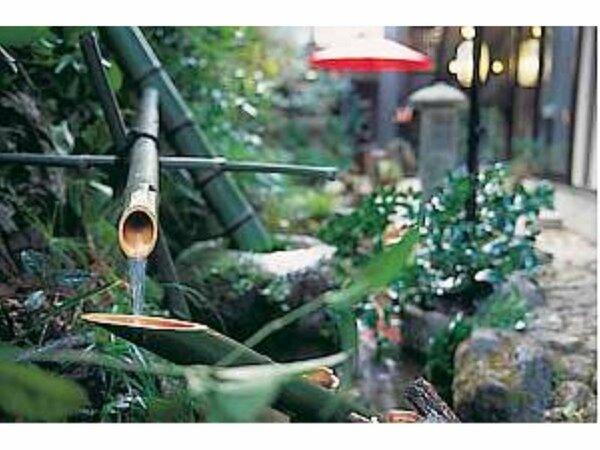 玄関脇の庭にて、高らかな音を響かせお出迎え