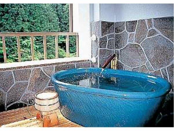 陶器の露天風呂で日本三大美人湯満喫一例