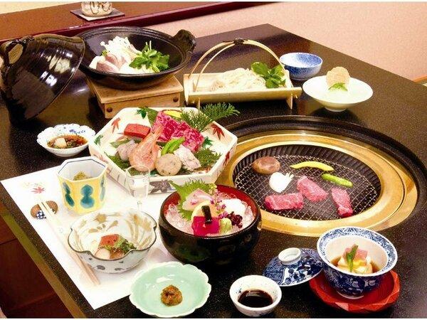 季節の鍋が付いた炭火焼会席料理を 個室レストランにてお召し上がりいただきます ※イメージ