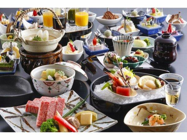 旨みが凝縮された神戸牛を鉄板焼で。デザートバイキングも付いた会席料理です※イメージ