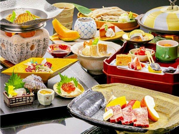 """9月~2月までのお料理イメージです。""""個室食""""でゆっくりと旬材のお食事をお楽しみいただけ"""