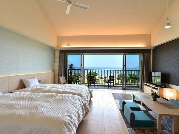 【ガーデンテラスオーシャンビュー】お部屋からフサキビーチをご覧いただけます。