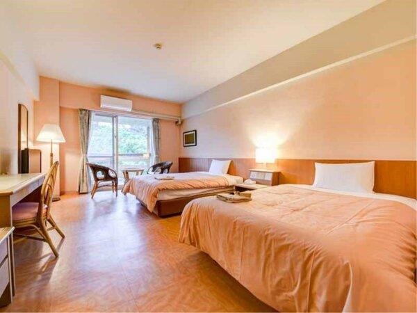 *客室一例【スタンダードツイン】窓の外にはジャングルの眺め!シンプルで快適にお過ごし頂ける造り。