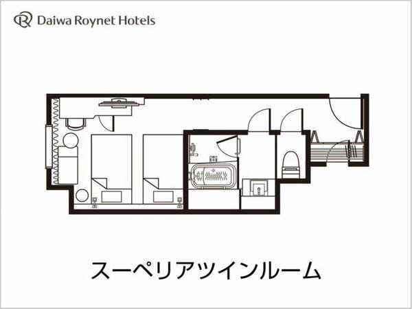 スーペリアツイン間取り図/25平米/ベッド幅110cm