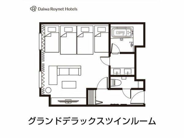 グランドデラックスツイン間取り図(4名)/42平米/ベッド幅110cm(エキストラベッド97cm)