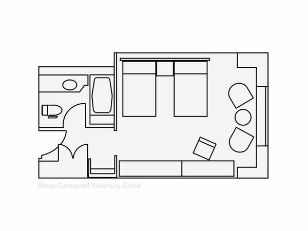 【客室見取り図】ツインルーム(38平米)