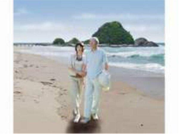由良海岸の浜辺を散策