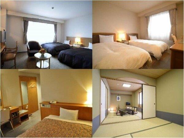 シングル(ダブルベッド)やダブル(クイーンサイズ)、ツインはもちろん、ホテルには珍しい和室も!